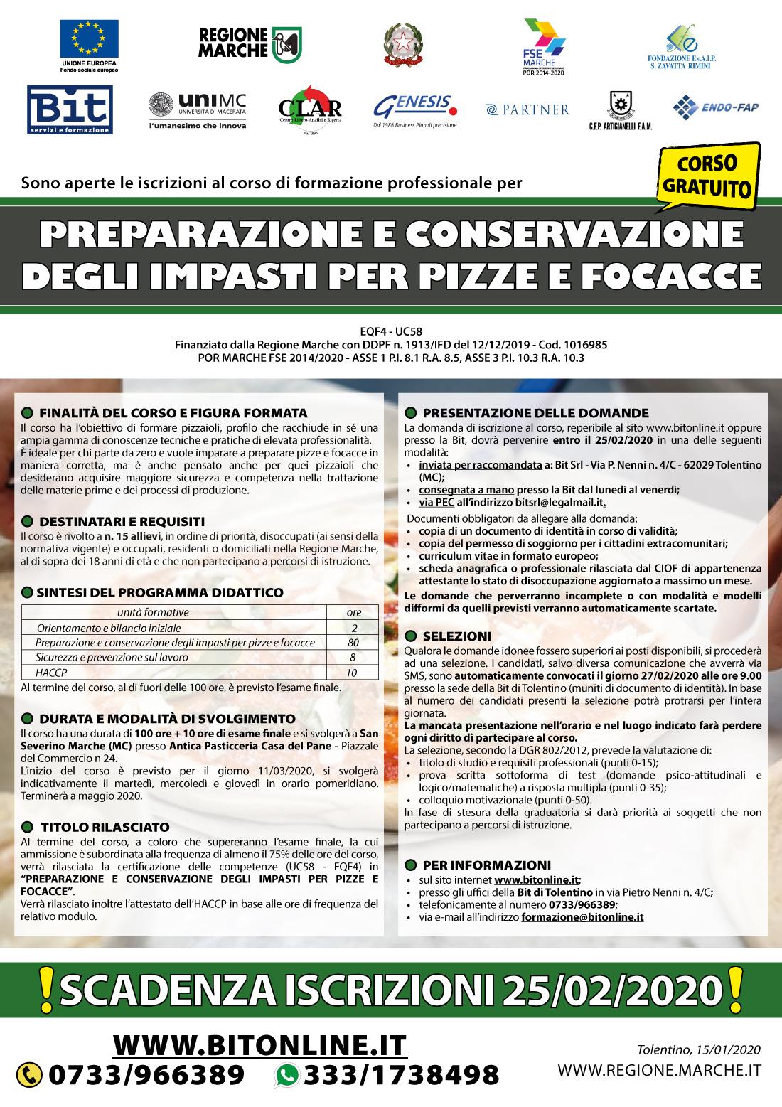 Corso gratuito pizzeria